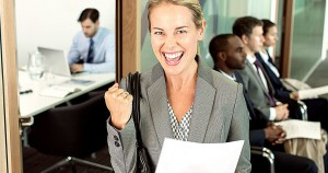 Businesswoman-cheering-in-office