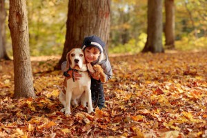 маленькая-девочка-с-биглем-outdoors-в-парке-осени-128739108